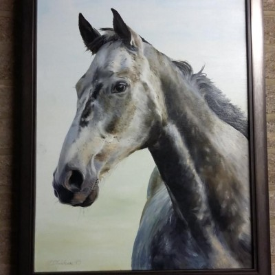 This beautiful 'Elements' frame in pewter complements this stunning painting in oil on canvas by the artist, David Fieldhouse and is of 'Grey Gelding'.   The Elements frame is of opalescent metalic foil with oil on water effect and a mat brush paint effect on the sight edge and back.